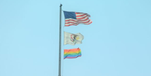 LGBT Political Flag Flying Over the Illinois Capitol